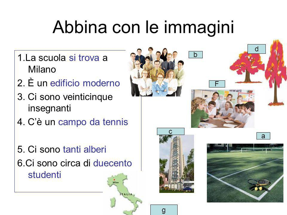 Abbina con le immagini 1.La scuola si trova a Milano