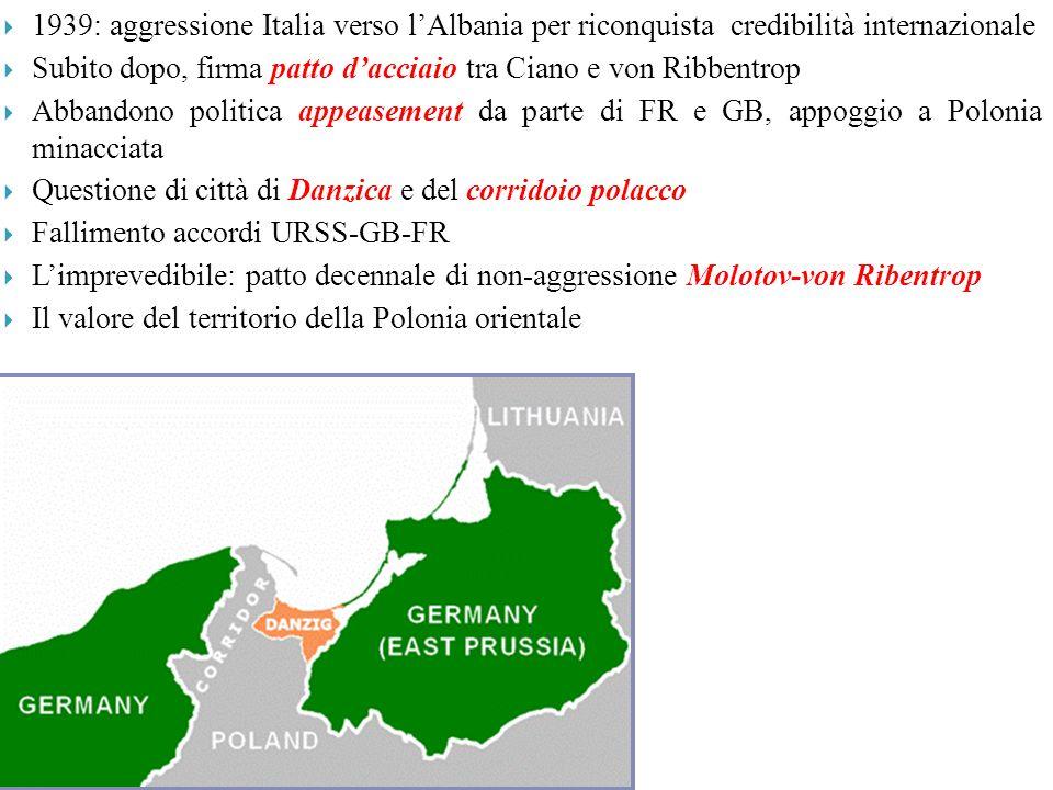 1939: aggressione Italia verso l'Albania per riconquista credibilità internazionale