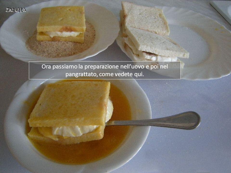 Ora passiamo la preparazione nell'uovo e poi nel pangrattato, come vedete qui.