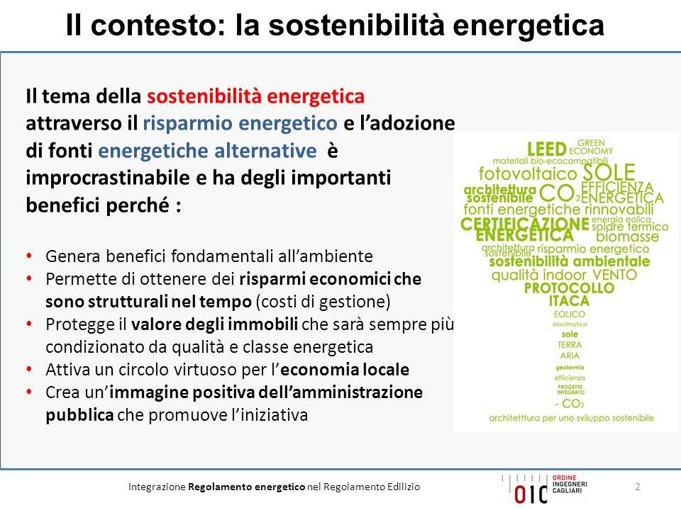 Il contesto: la sostenibilità energetica