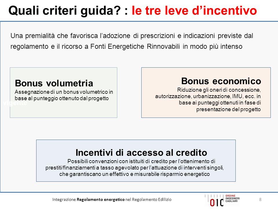 Quali criteri guida : Ie tre leve d'incentivo