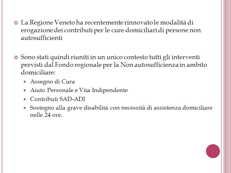 La Regione Veneto ha recentemente rinnovato le modalità di erogazione dei contributi per le cure domiciliari di persone non autosufficienti