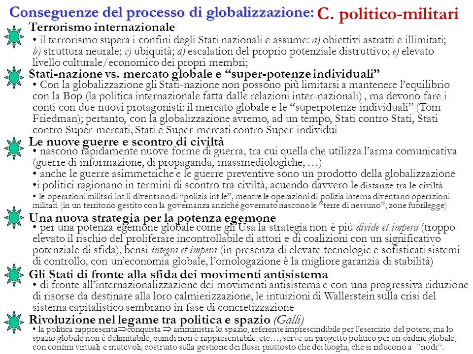 C. politico-militari Conseguenze del processo di globalizzazione: