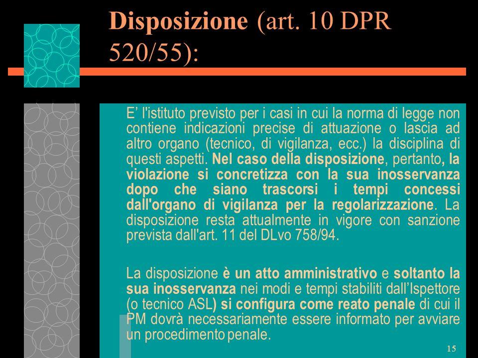 Disposizione (art. 10 DPR 520/55):