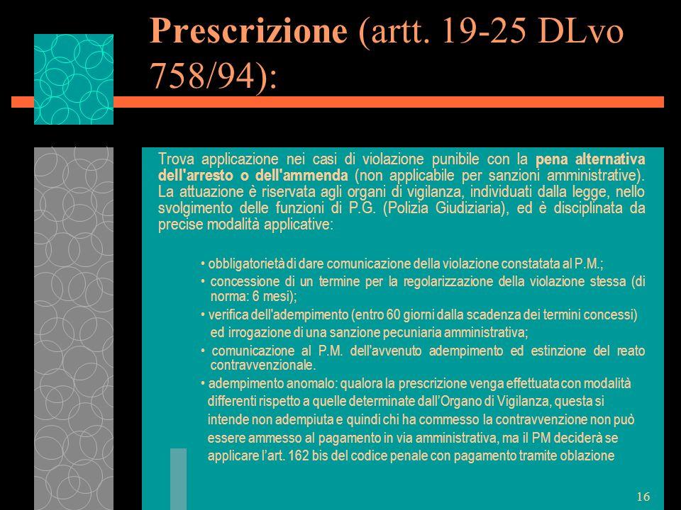Prescrizione (artt. 19-25 DLvo 758/94):