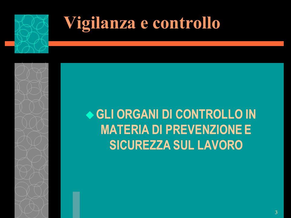 Vigilanza e controllo GLI ORGANI DI CONTROLLO IN MATERIA DI PREVENZIONE E SICUREZZA SUL LAVORO