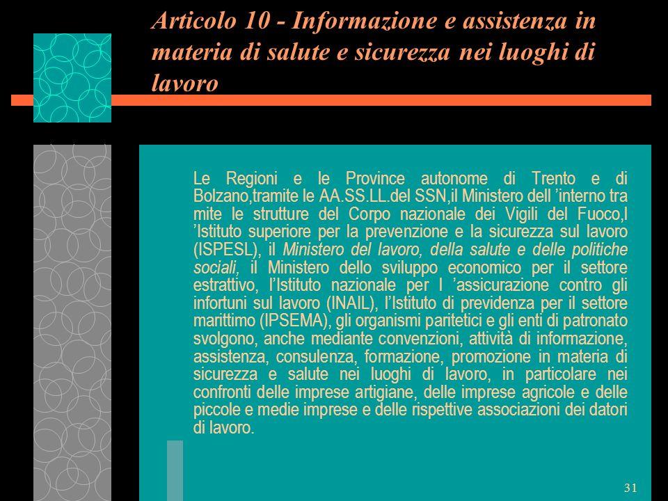 Articolo 10 - Informazione e assistenza in materia di salute e sicurezza nei luoghi di lavoro