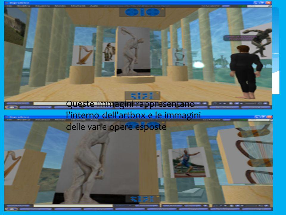 Queste immagini rappresentano l'interno dell'artbox e le immagini delle varie opere esposte