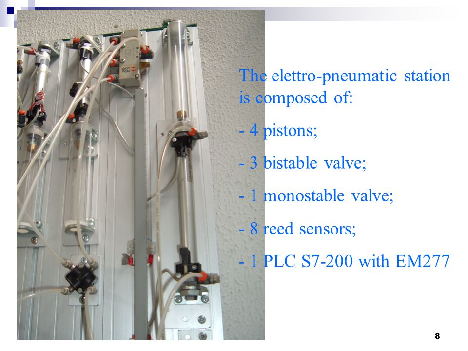 The elettro-pneumatic station is composed of: 4 pistons;