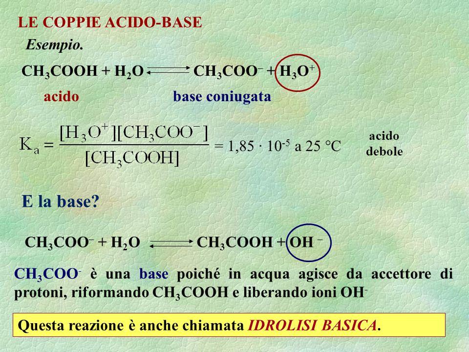 E la base LE COPPIE ACIDO-BASE Esempio. CH3COOH + H2O CH3COO– + H3O+