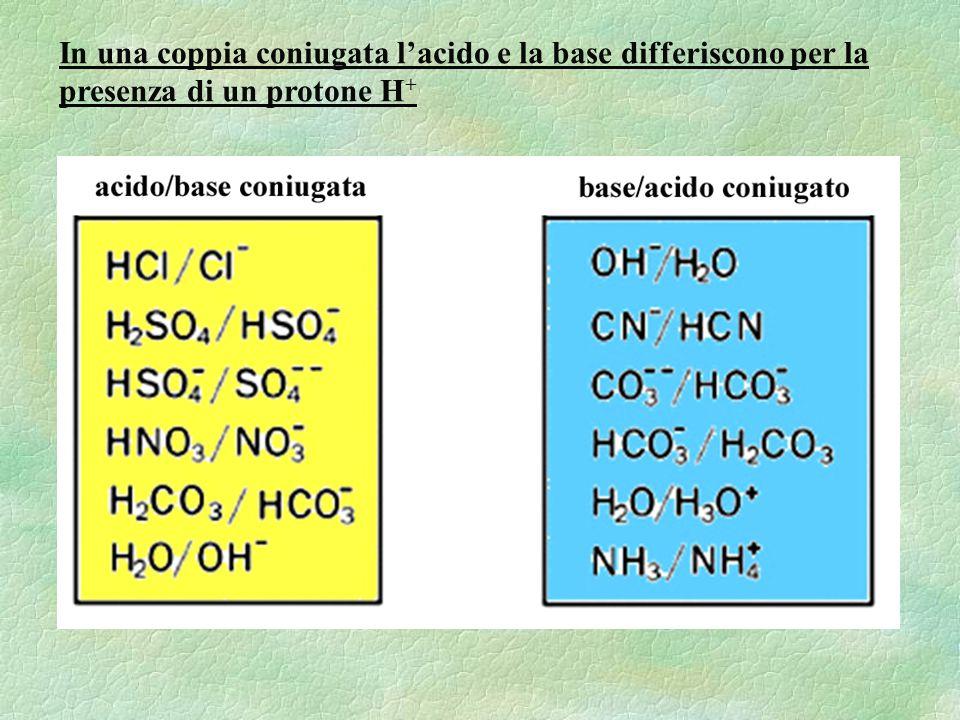 In una coppia coniugata l'acido e la base differiscono per la presenza di un protone H+