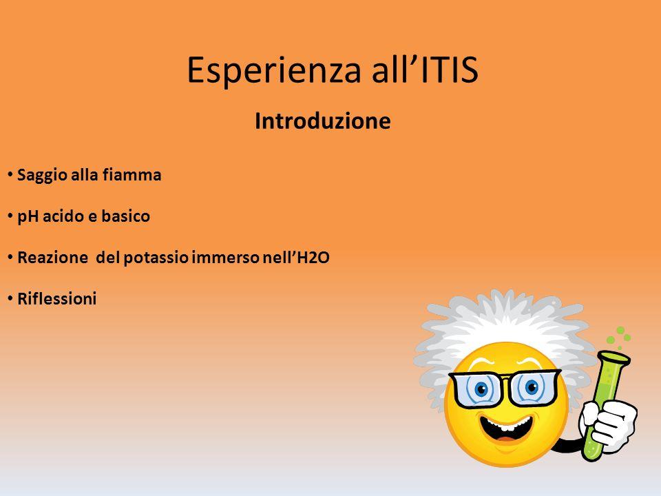 Esperienza all'ITIS Introduzione Saggio alla fiamma pH acido e basico