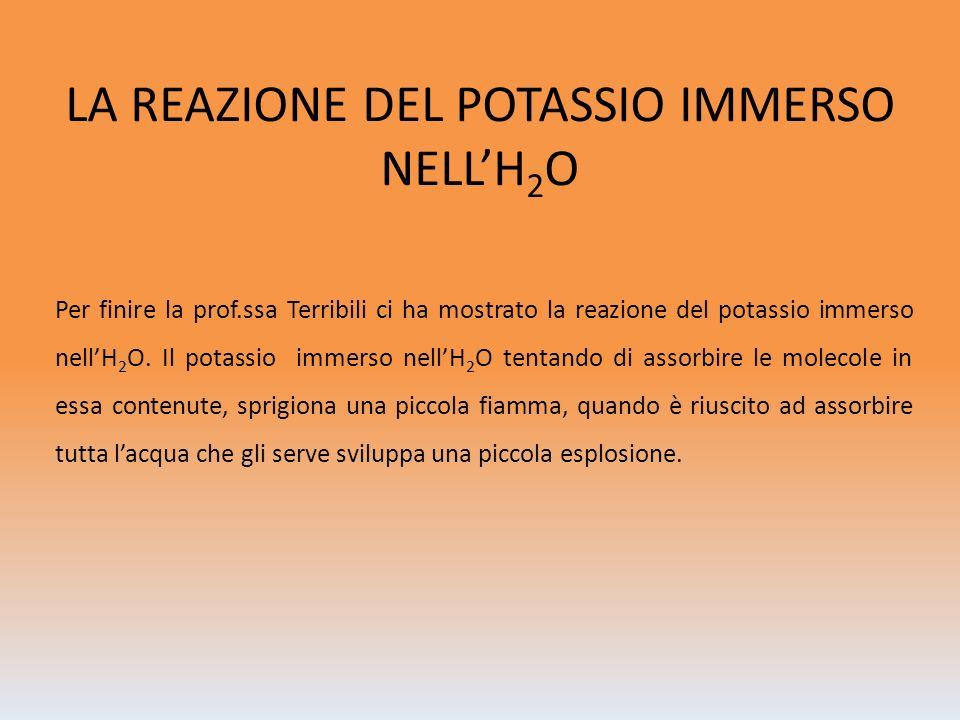 LA REAZIONE DEL POTASSIO IMMERSO NELL'H2O