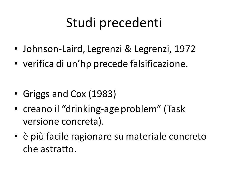 Studi precedenti Johnson-Laird, Legrenzi & Legrenzi, 1972