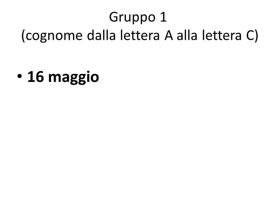 Gruppo 1 (cognome dalla lettera A alla lettera C)