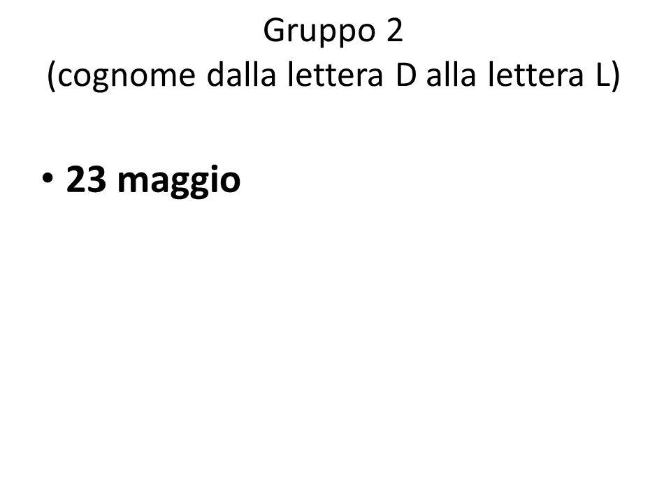 Gruppo 2 (cognome dalla lettera D alla lettera L)