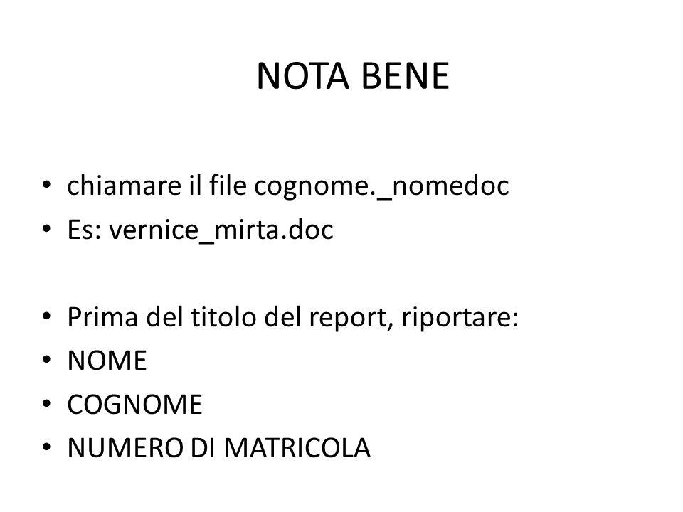 NOTA BENE chiamare il file cognome._nomedoc Es: vernice_mirta.doc