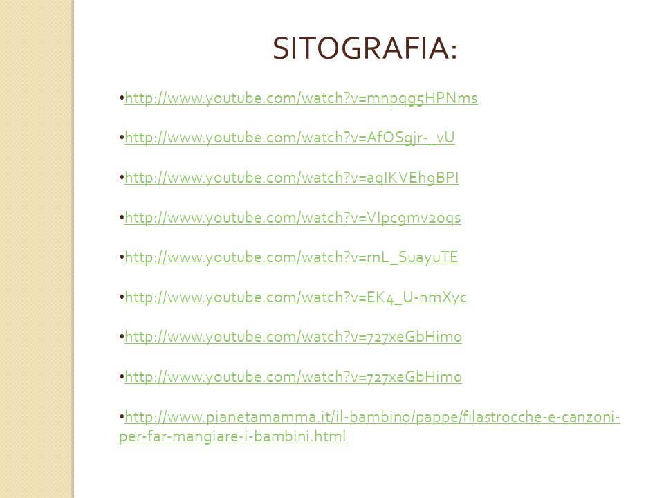 SITOGRAFIA: http://www.youtube.com/watch v=mnpqg5HPNms