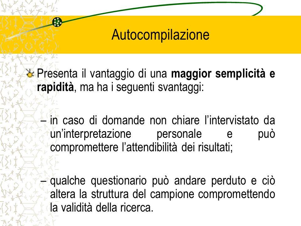 Autocompilazione Presenta il vantaggio di una maggior semplicità e rapidità, ma ha i seguenti svantaggi: