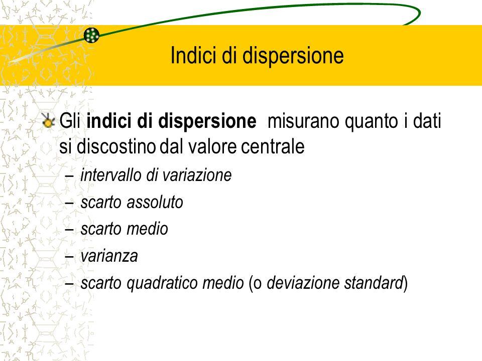 Indici di dispersione Gli indici di dispersione misurano quanto i dati si discostino dal valore centrale.