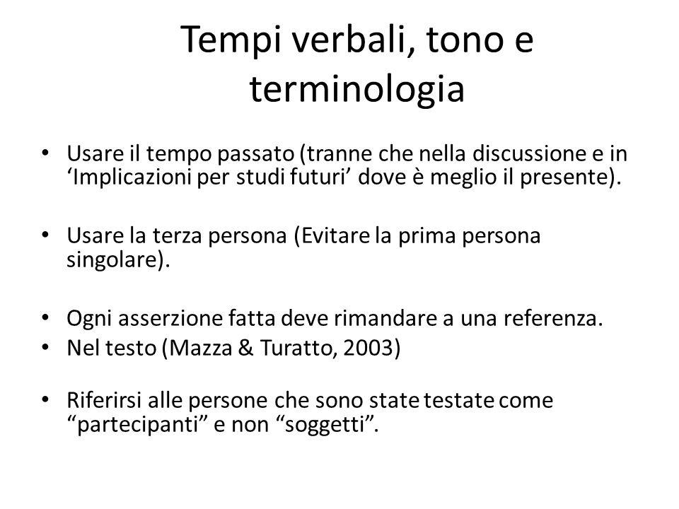 Tempi verbali, tono e terminologia