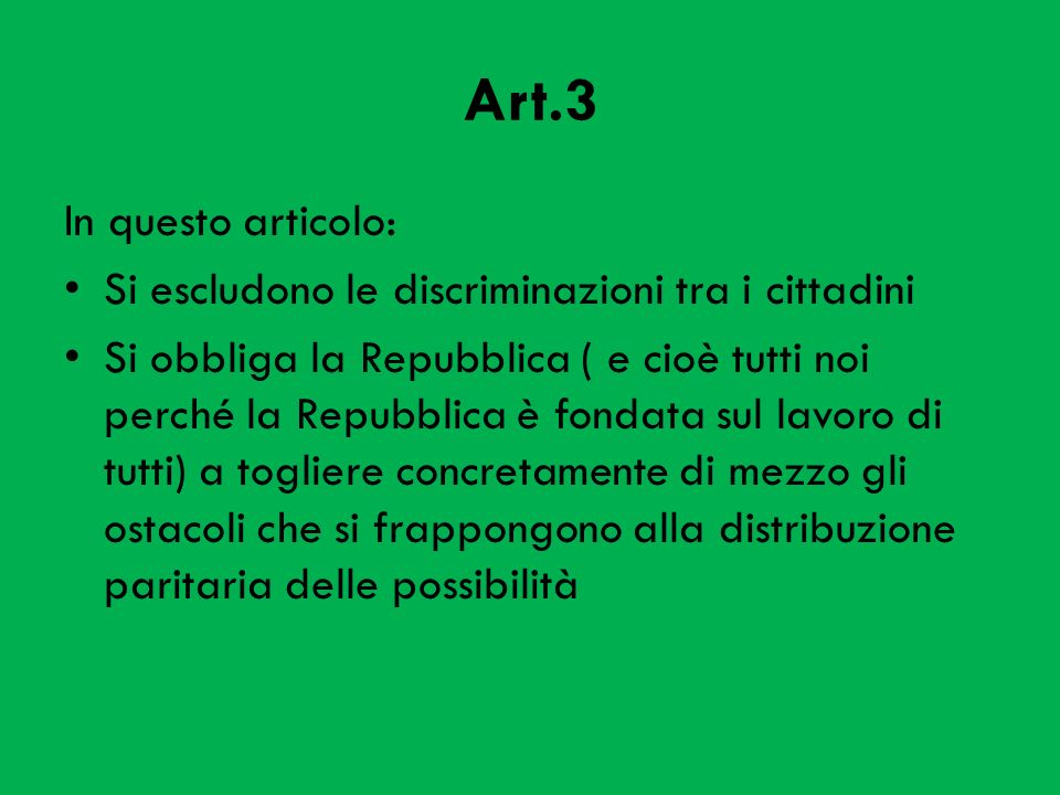 Art.3 In questo articolo: