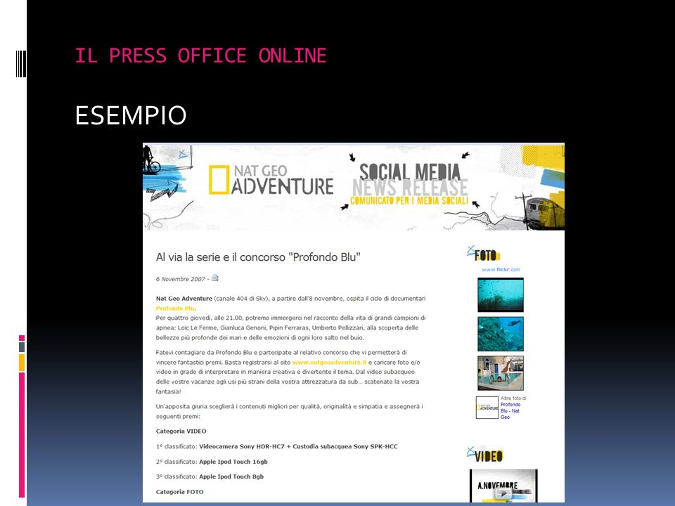 IL PRESS OFFICE ONLINE ESEMPIO