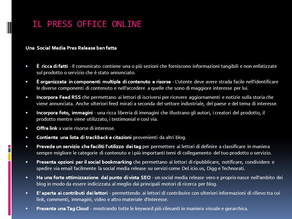 IL PRESS OFFICE ONLINE Una Social Media Pres Release ben fatta
