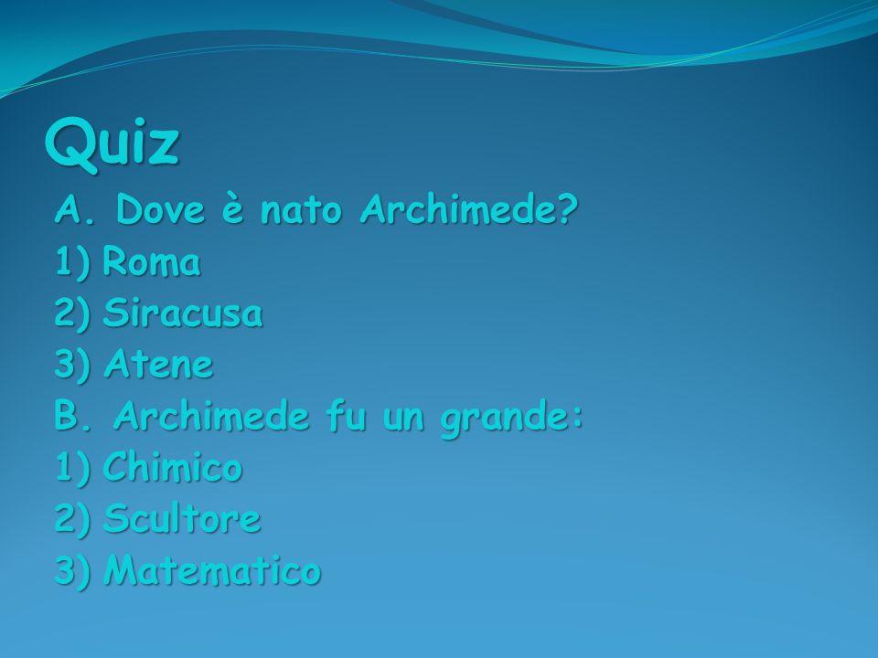 Quiz A. Dove è nato Archimede Roma Siracusa Atene