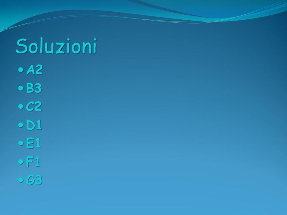 Soluzioni A2 B3 C2 D1 E1 F1 G3