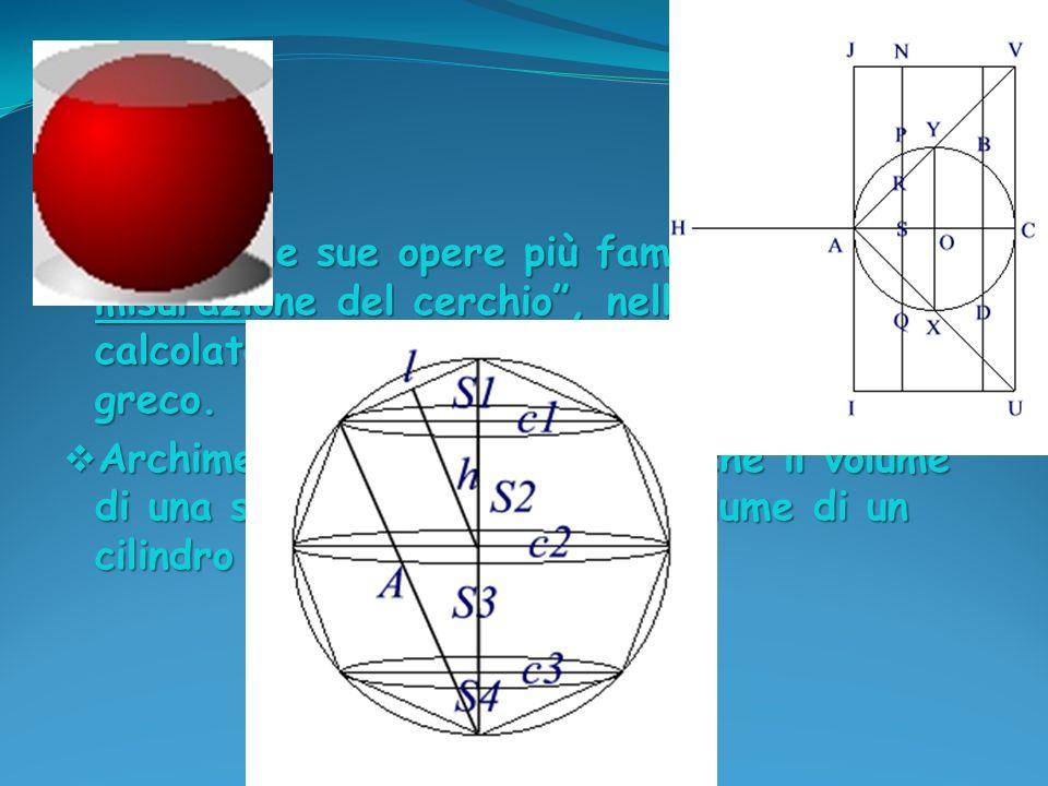 Una delle sue opere più famose è: Sulla misurazione del cerchio , nella quale viene calcolato un valore approssimato del P greco.