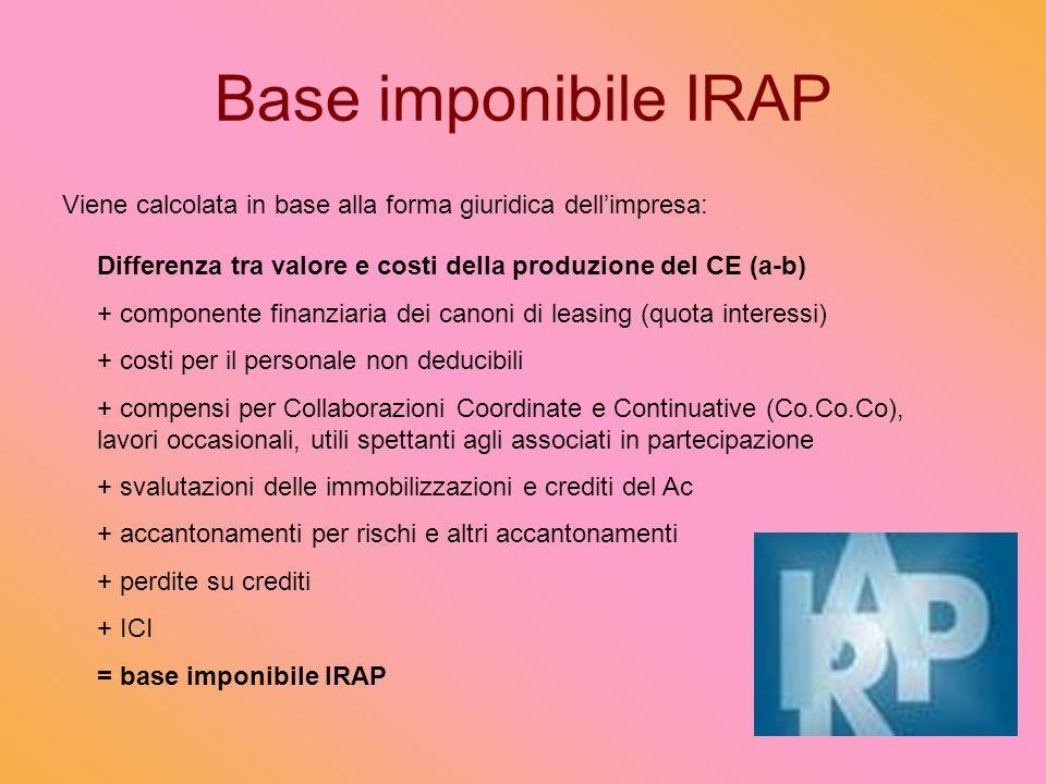 Base imponibile IRAP Viene calcolata in base alla forma giuridica dell'impresa: Differenza tra valore e costi della produzione del CE (a-b)
