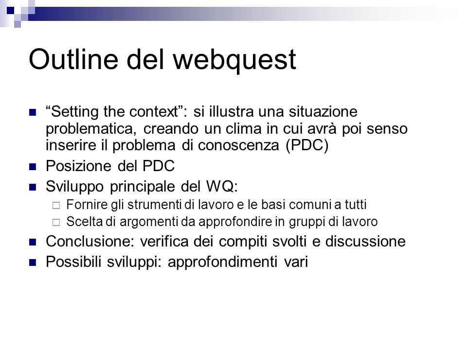 Outline del webquest