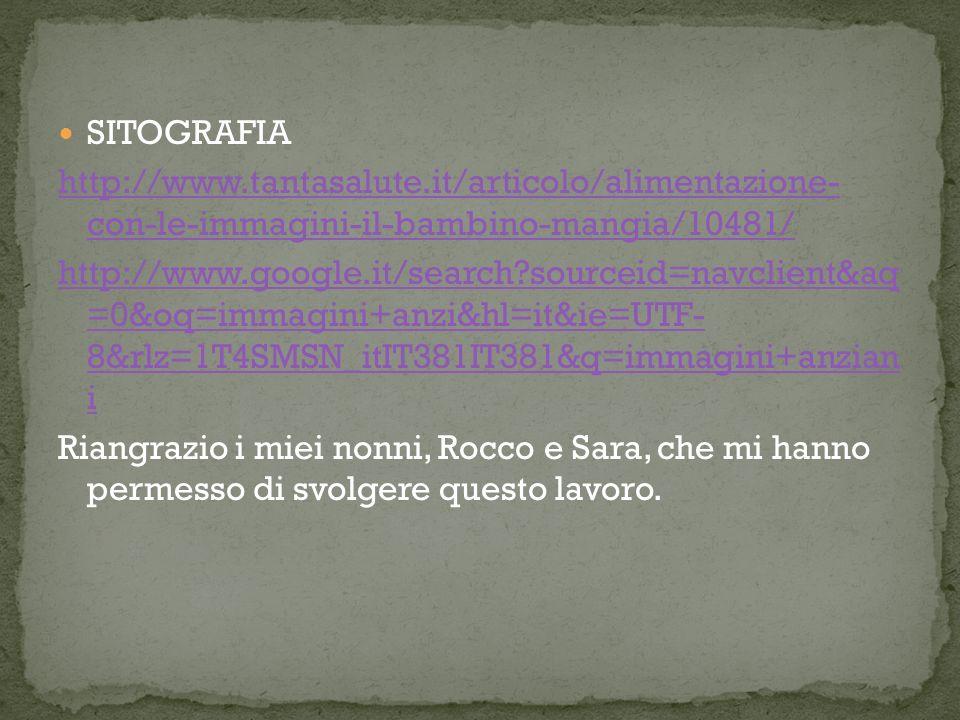 SITOGRAFIA http://www.tantasalute.it/articolo/alimentazione- con-le-immagini-il-bambino-mangia/10481/