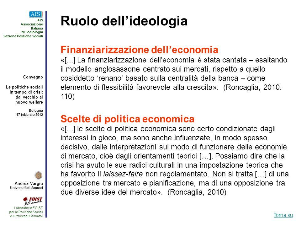 Ruolo dell'ideologia Finanziarizzazione dell'economia