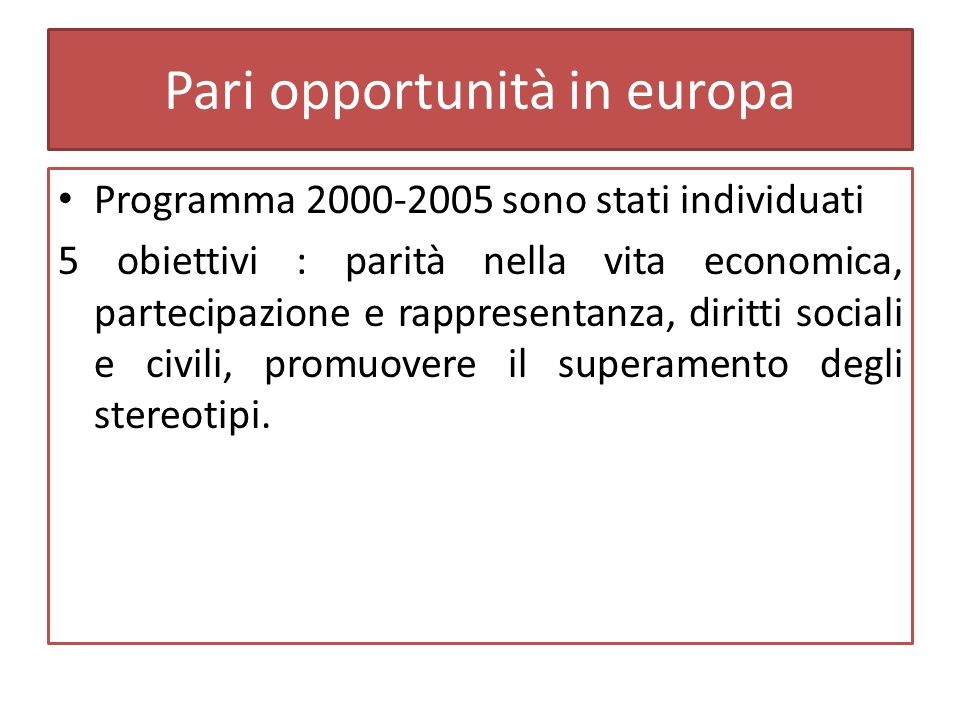 Pari opportunità in europa