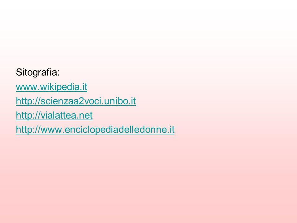 Sitografia: www.wikipedia.it. http://scienzaa2voci.unibo.it.