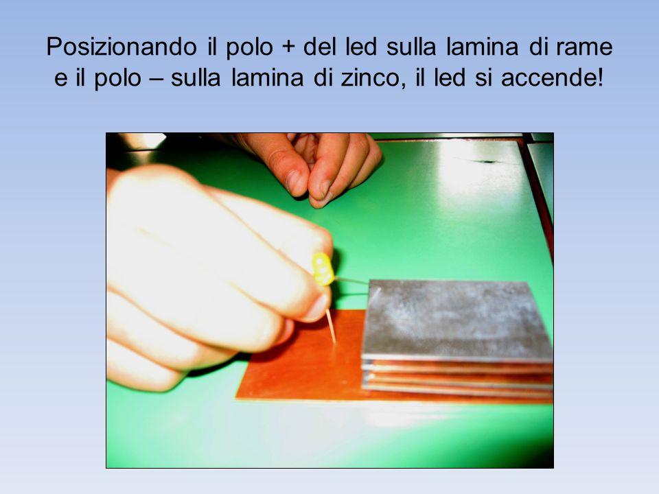 Posizionando il polo + del led sulla lamina di rame e il polo – sulla lamina di zinco, il led si accende!