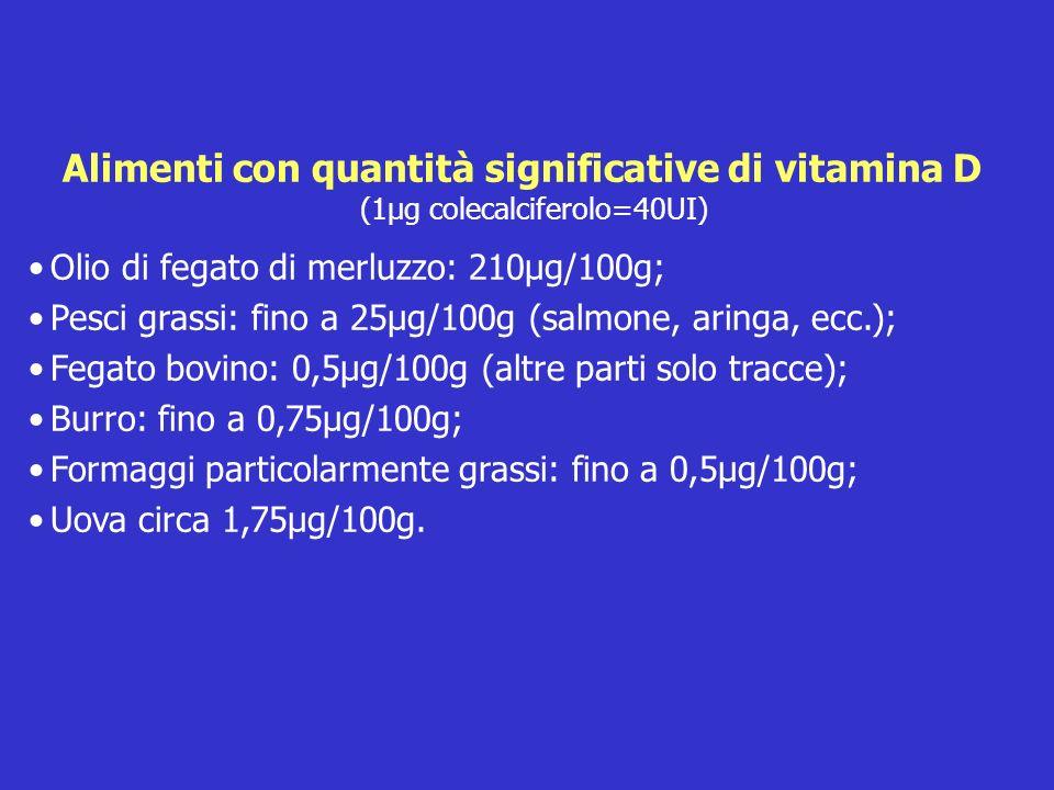 Alimenti con quantità significative di vitamina D (1µg colecalciferolo=40UI)