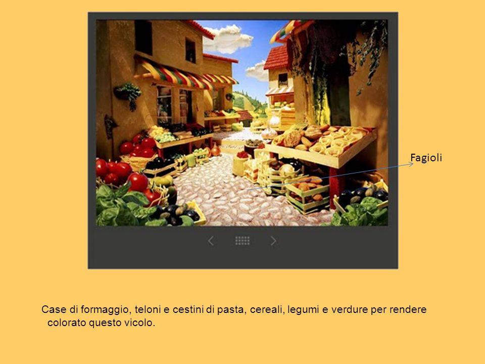 Fagioli Case di formaggio, teloni e cestini di pasta, cereali, legumi e verdure per rendere colorato questo vicolo.