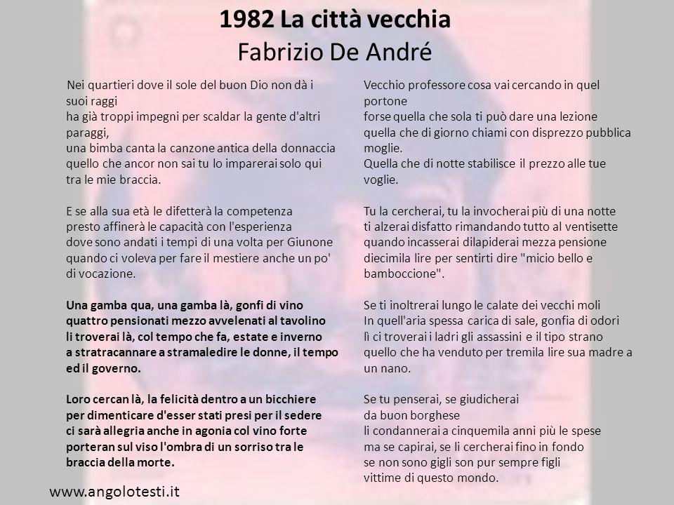 1982 La città vecchia Fabrizio De André