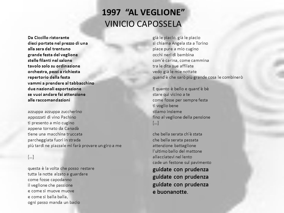 1997 AL VEGLIONE VINICIO CAPOSSELA