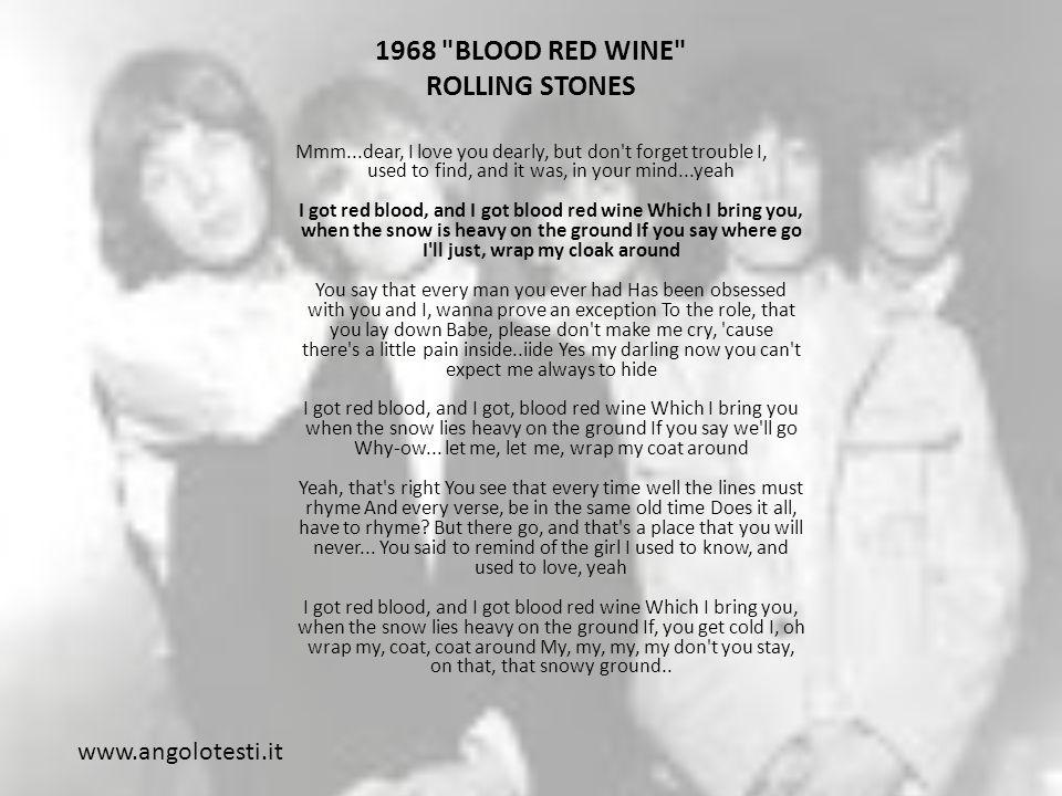 1968 BLOOD RED WINE ROLLING STONES