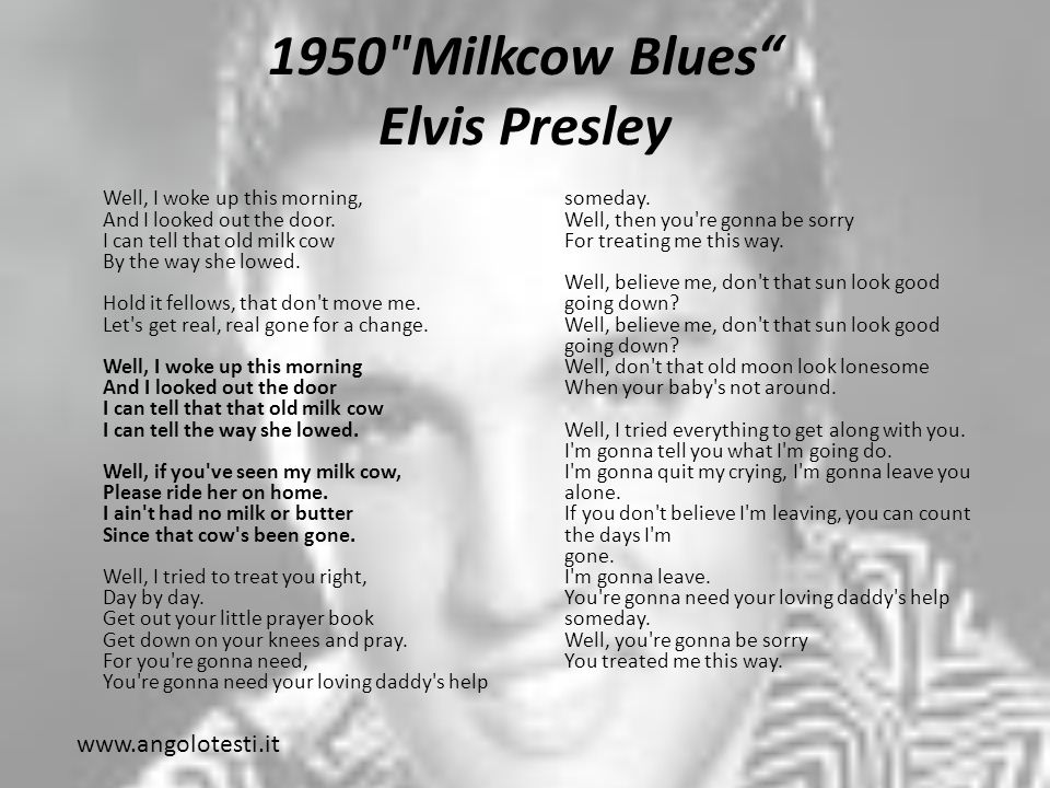 1950 Milkcow Blues Elvis Presley