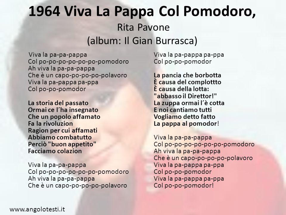 1964 Viva La Pappa Col Pomodoro, Rita Pavone (album: Il Gian Burrasca)