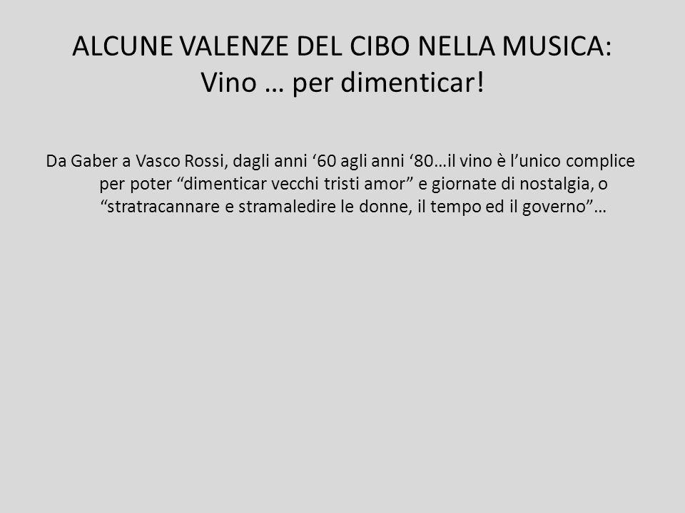 ALCUNE VALENZE DEL CIBO NELLA MUSICA: Vino … per dimenticar!