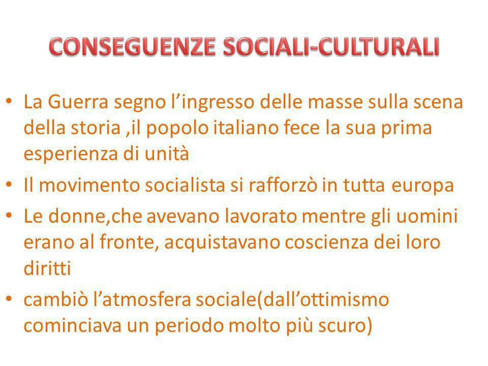 CONSEGUENZE SOCIALI-CULTURALI