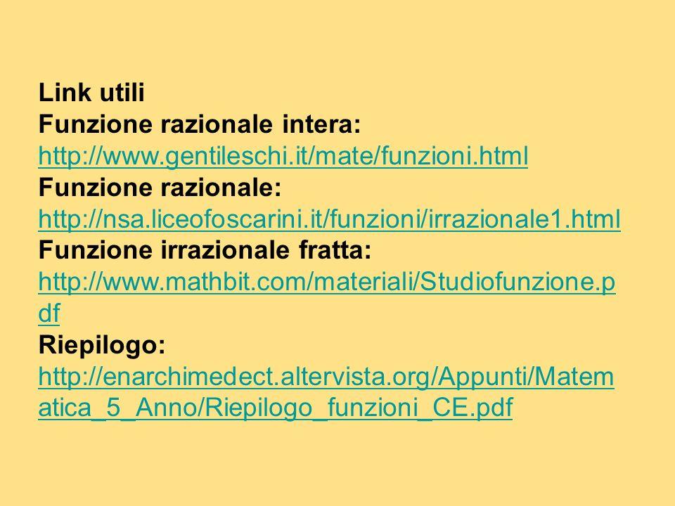 Link utili Funzione razionale intera: http://www.gentileschi.it/mate/funzioni.html.