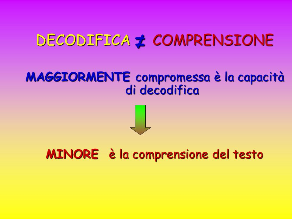 ≠ DECODIFICA COMPRENSIONE