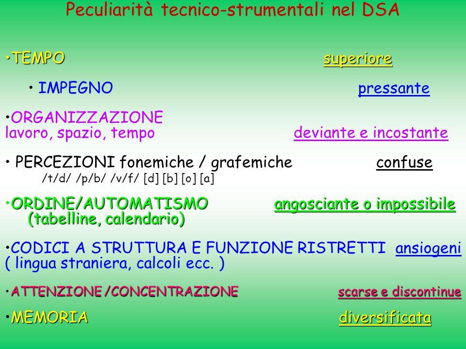 Peculiarità tecnico-strumentali nel DSA
